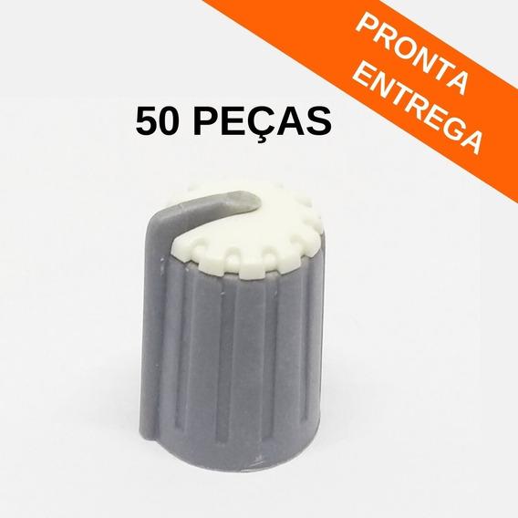 Botão Knob Branco Plástico Ka481 P/ Potenciômetro (50 Peças)