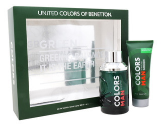 Set Benetton Colors Green Man 2pzs 100 Ml Edt Spray + After