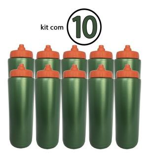 Kit 10 Squeze Tipo Gatorade 1l Rythmoon S/logo Verde/laranja