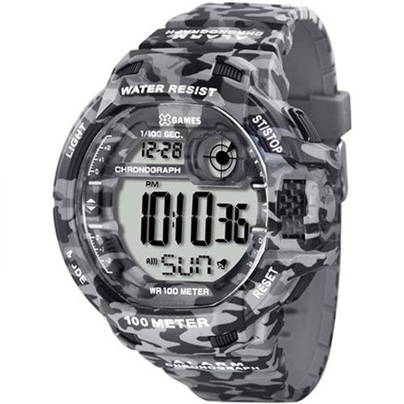 Relógio X-games Masculino Digital Xmppd288 Camuflado Cinza