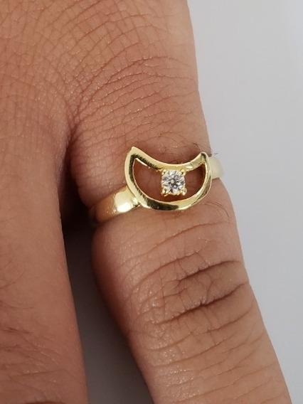 Anel Lua Com Pedra 3mm De Ouro