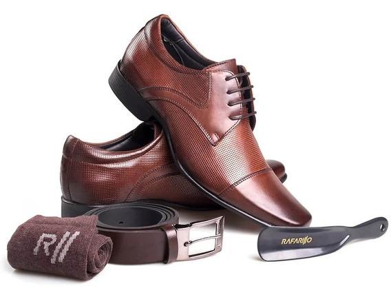 Kit 4 Em 1 Sapato Rafarillo Couro Legítimo Cadarço 34001-01