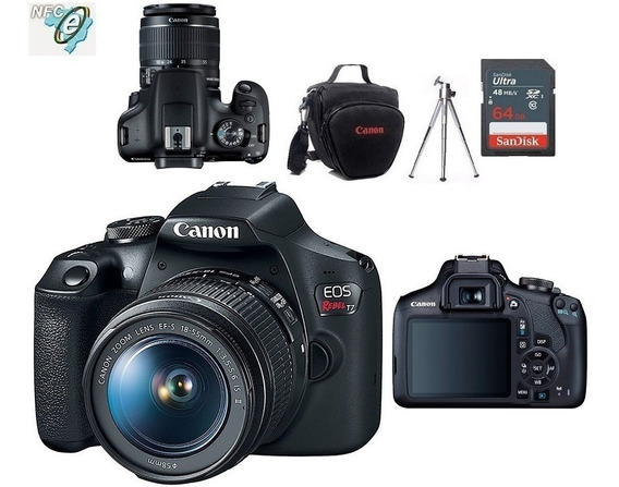 Canon Eos T7 18-55mm Is Ii + Bolsa+tripé+64gb Nota Fiscal
