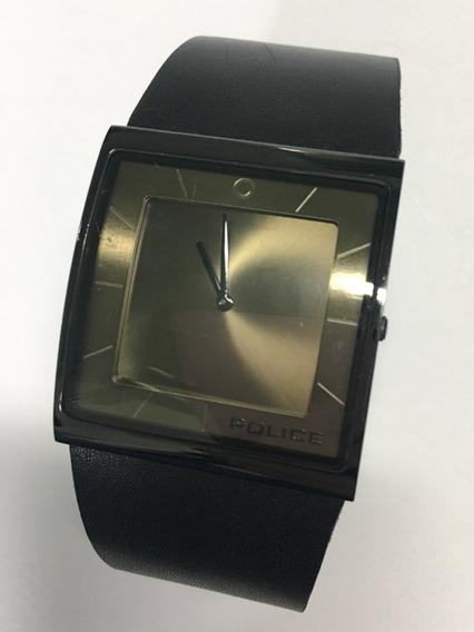 Relógio Original Police Pulseira Couro Preta Usado