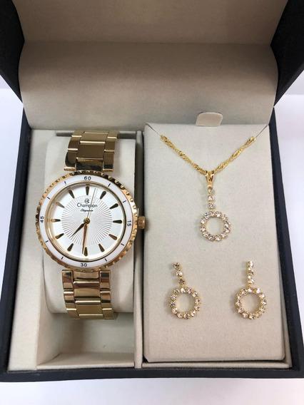 Relógio Feminino Champion Cn27438w + Kit= 37