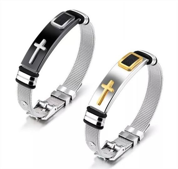 Kit 2 Pulseira Masculina Bracelete Banhada Ouro 18k Cruz
