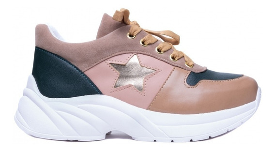 Tênis Feminino Barato Casual Chunky Sneaker Sola Alta