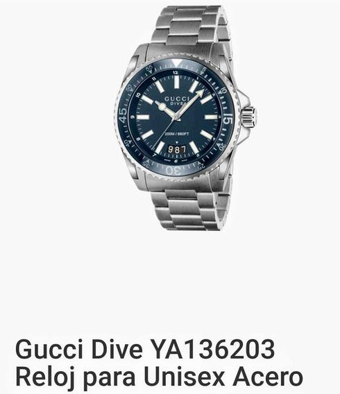 Reloj Gucci Dive Ya136203 En Acero Unisex. Se Envía Con Caja