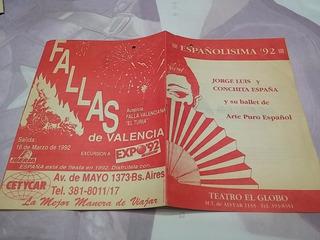 Programa Teatro Españolisima 92 Jorge Luis Conchita España