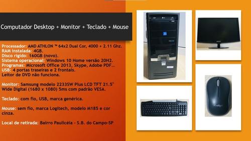 Imagem 1 de 5 de Computador Desktop + Monitor + Teclado + Mouse