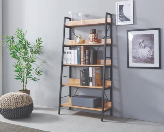 Librero Moderno-vintage-industrial, Metálico/madera 5 Pisos