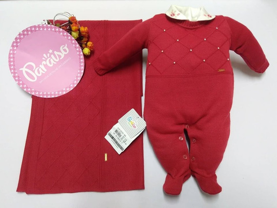 Saida Maternidade Luxo Paraiso Bebê Menina Fio Trico 7968