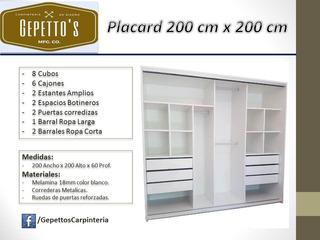 Placard 200 Ancho X 200 Alto Puertas Corredizas