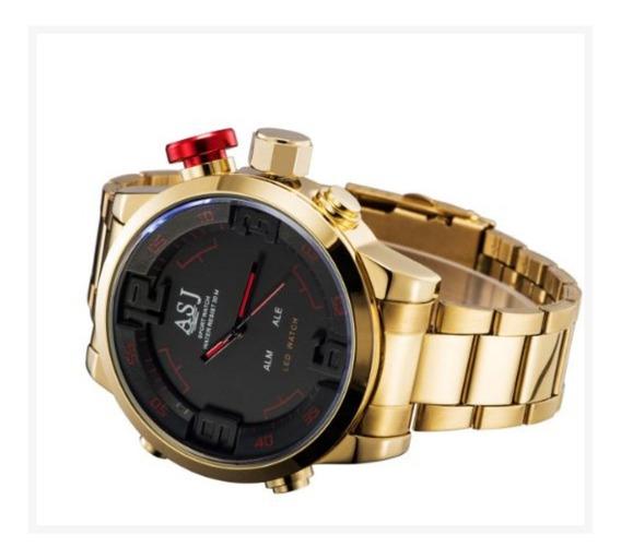 Relógio Asj Gold Led Digital E Analógico