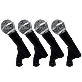 Kit 4 Microfones De Mão Com Fio Leson Ls50 + Cachimbo Leson
