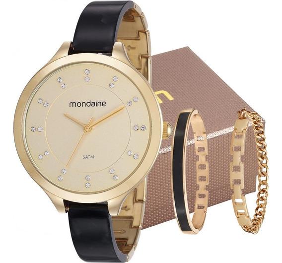 Relógio Mondaine Feminino Preto / Dourado 53614lpmvdf2k1