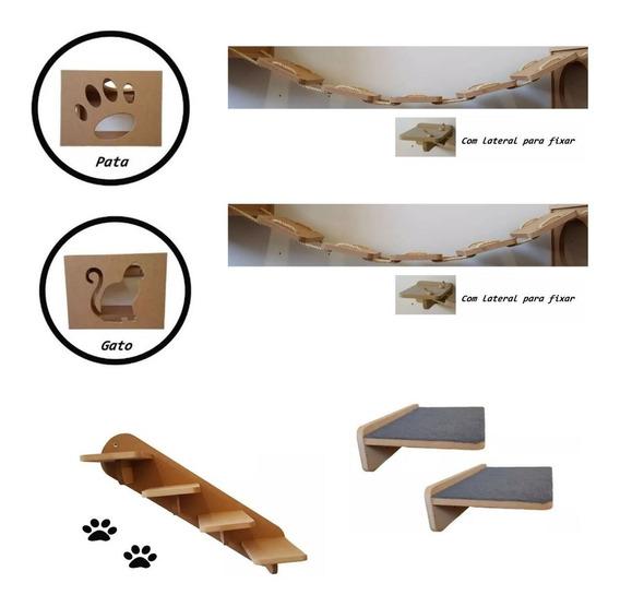 Nicho Gato Kit 7 Pçs - 2nichos 2pontes 2prateleiras Escada