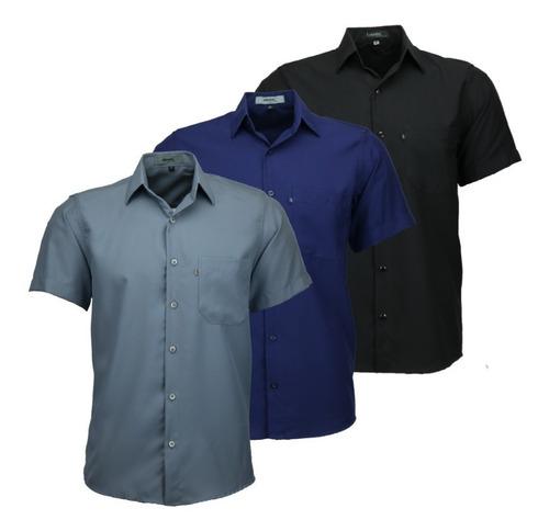 Imagem 1 de 6 de Kit 3 Camisas Masculina Não Amassa C Bolso Otimo Present 440