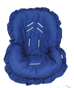 Capa Para Bebê Conforto Acolchoada Poá Azul Marinho