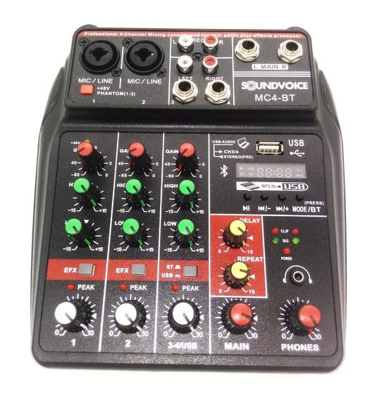 Mesa De Som 4 Canais Interface Usb Bluetoot Soundvoice Mc4bt