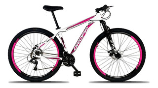 Bicicleta Aluminio Aro 29 Dropp 21v Branco Com Rosa