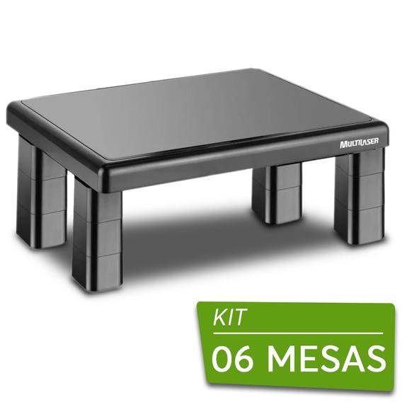 06 Suportes Base Para Monitor De Mesa Quadrado Multilaser