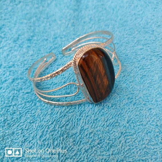 Bracelete Pulseira De Prata 925 Com Pedra Olho De Tigre