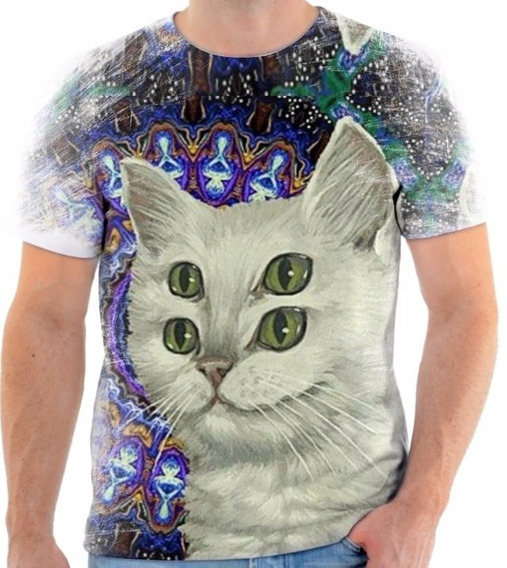 Camisa Camiseta Personalizada Animal Gato Cat Psicodélico 02