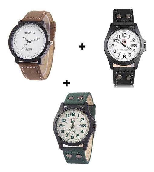 Kit Com Três Relógios De Pulso Analógicos Calendário Barato