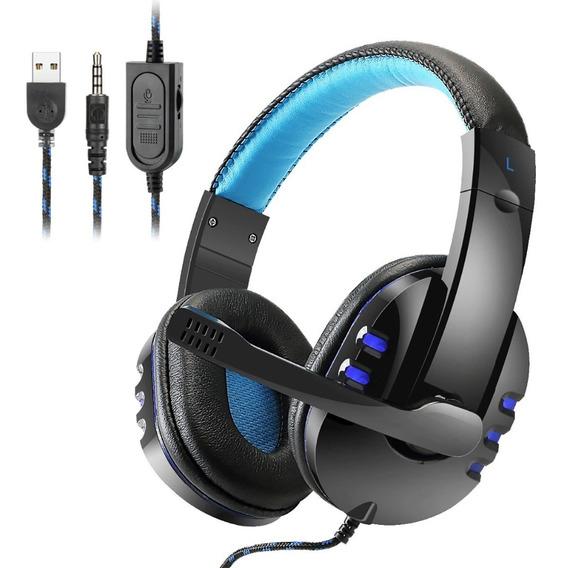 Headset Usb Gamer Fone Ouvido Ps3 Ps4 Pc Led Exbom Celular