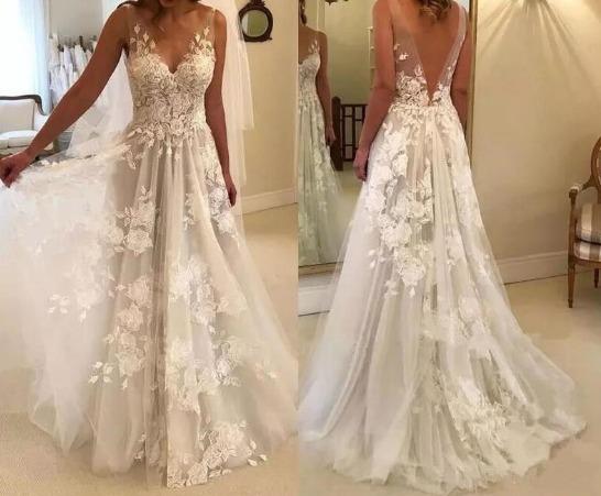 Vestidos De Noiva Atraente Em V Pescoço Longo B28