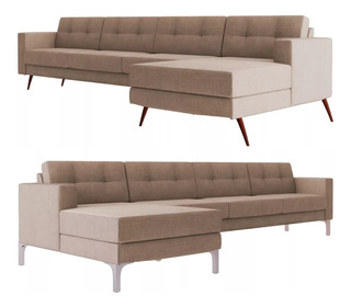 Sofa Hugo Chaise Chess Pe Palito Ou Metal Aluminio 230cm