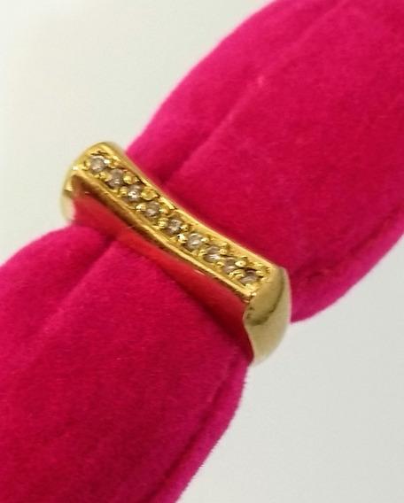Anel De Ouro 14k Com Diamantes