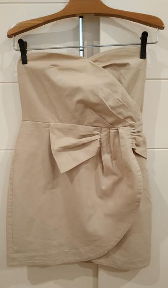 Vestido Tomara Que Caia Bege Em Algodão Com Laço - Marca Emme Original