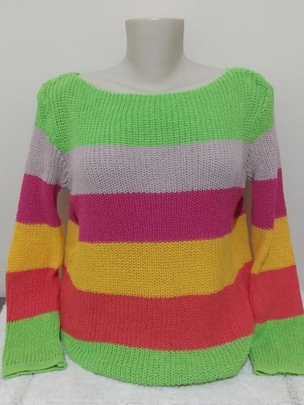 Blusa Listrada Feminina Tricô Tricot Frio Inverno Moda Nova