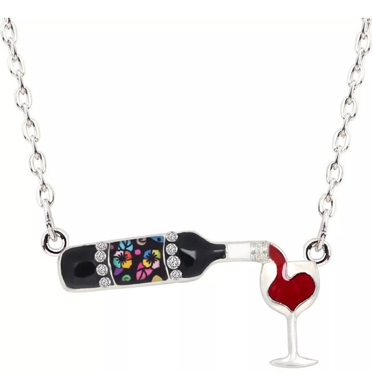Dije Collar Botella Vino Fantasia