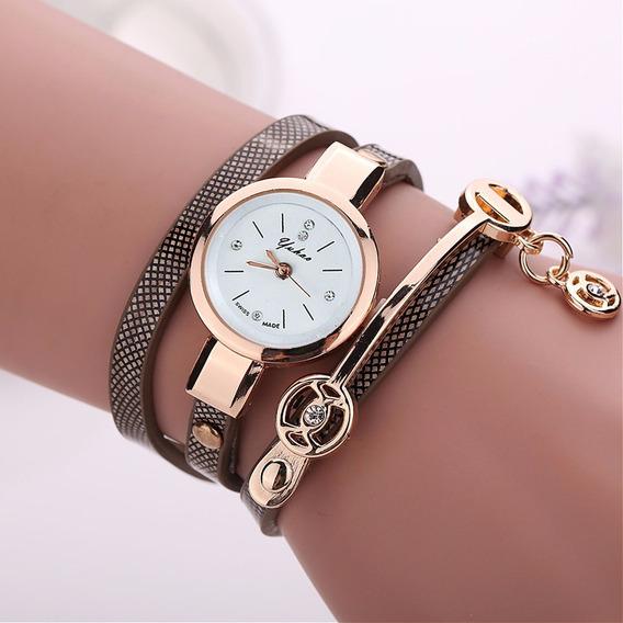 Relógio Feminino Pulseira Bracelete De Couro Vintage Dourado