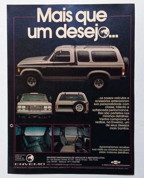 Picape Chevrolet D20 Envemo - Propaganda Antiga