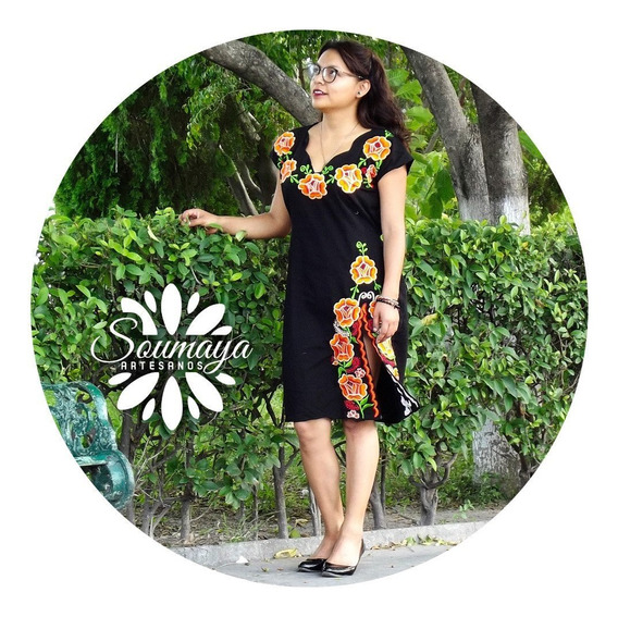 Hermoso Precioso Vestido Artesanal Shkenda Bordado Mexicano
