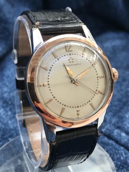 Relógio Ouro 18k Plaquê Padrão Ômega Automático Da Eterna