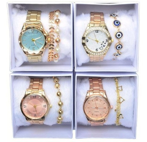 Kit C/ 10 Relógios Femininos + 10 Caixa Branca + 10 Pulseiras Atacado Revenda Top Modelos Novos Re-01
