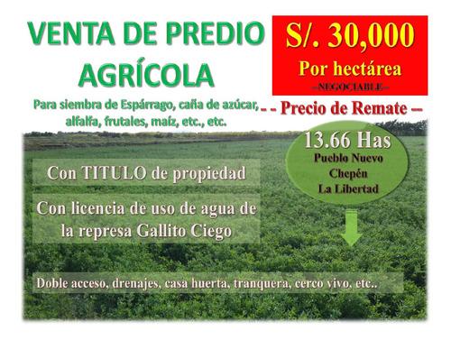 Ocasión.. Predio Agrícola_pueblo Nuevo_la Libertad 13.66 Has