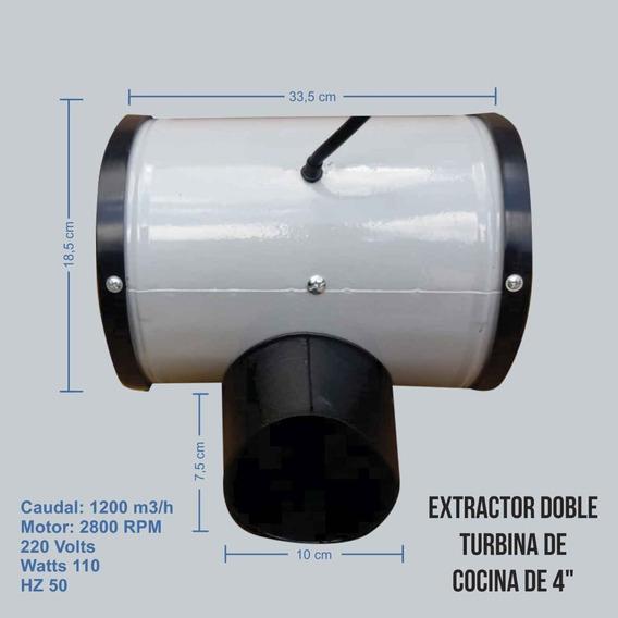 Extractor Doble Turbina 4 Pulgadas De 3 Velocidades