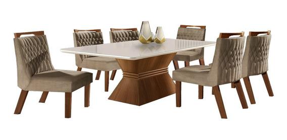 Conjunto Mesa De Jantar Cronos - Seis Cadeiras, Tampo Vidro