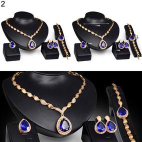 Conj (4 Peças) Colar, Brinco, Pulseira, Anel (pedra Azul)