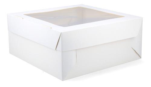 25 Cajas Con Visor Para Tortas Regalos (25x25x11cm) Blancas