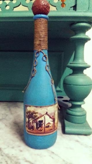 Botella Rústica Decorativa Molina Campo Alto 34 Cm Celeste
