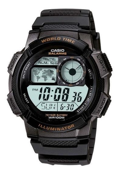 Relógio Casio Ae 1000w-1a Borracha Mapa Cronometro 5 Alarmes