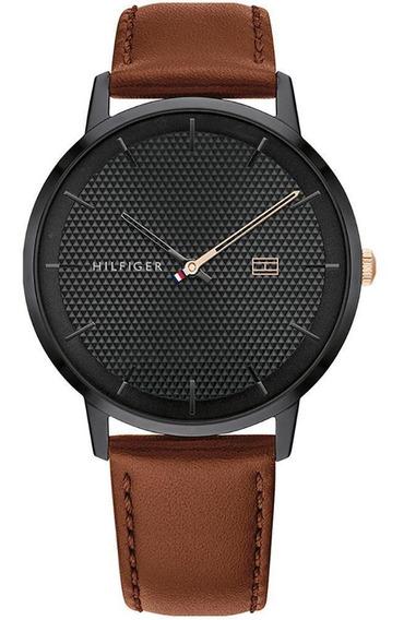 Relógio Tommy Hilfiger Preto Em Couro Marrom 1791700