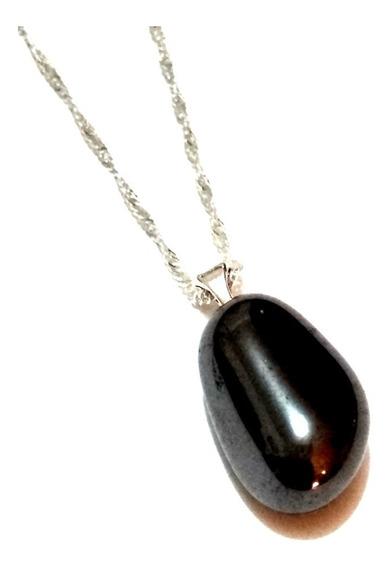 Dije Piedra Acerina Negro Natural Conjunto Joyería Unisex